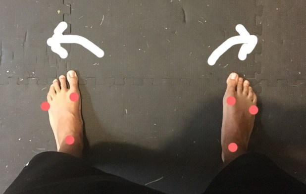 Pressure should be evenly distributed among the 3 points shown in the feet. Corkscrewing your feet will stabilize the knee and help cue a knee out