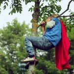 super hero in a tree