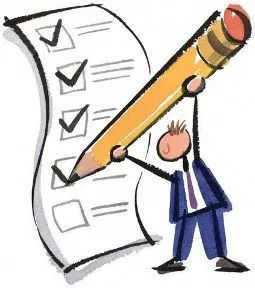 cartoon character holding oversized pencil with a task list. Start your day right with a to-do list.