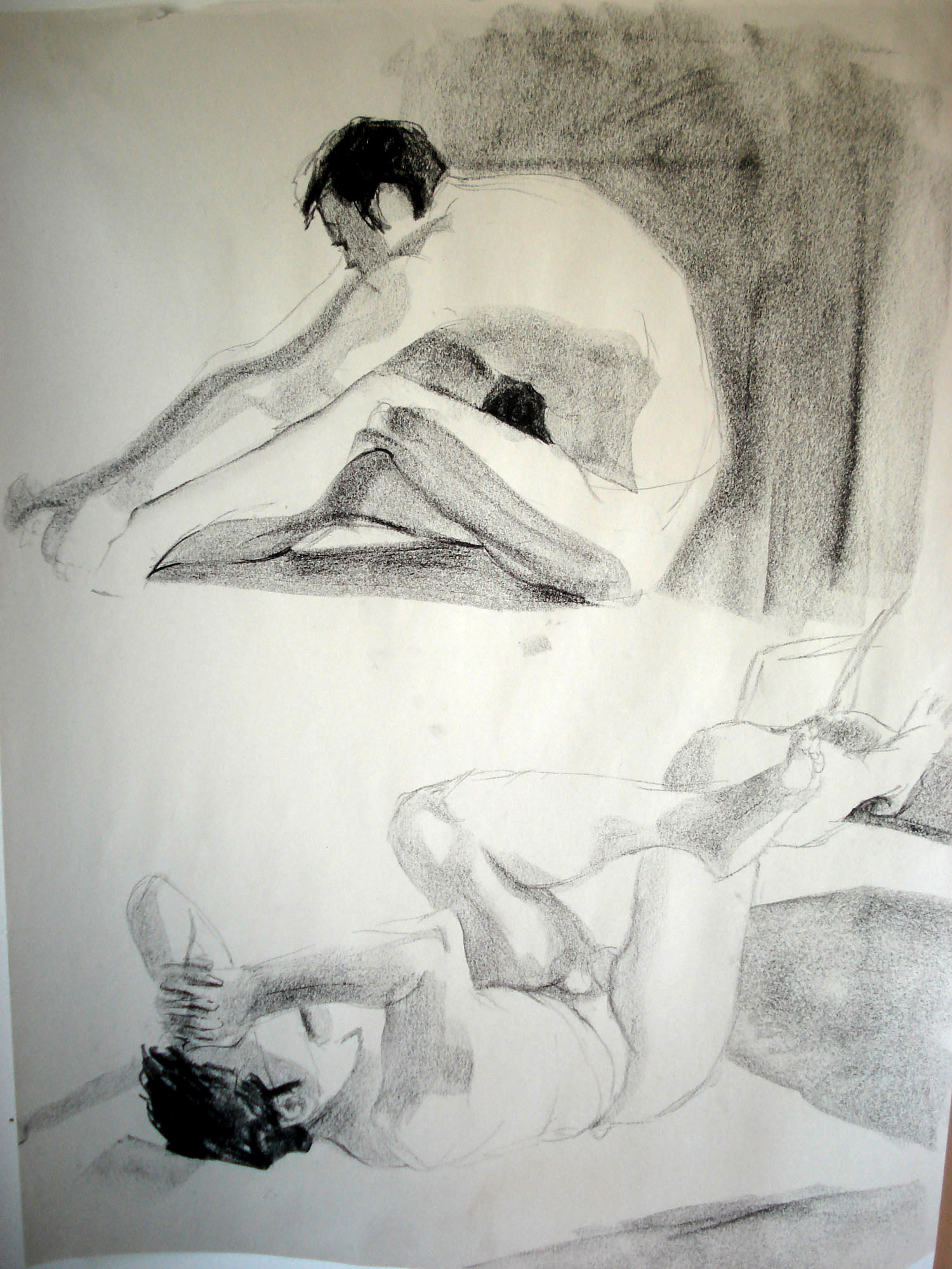 Male model in two different poses. These are between 5 and 10 minute sketches.