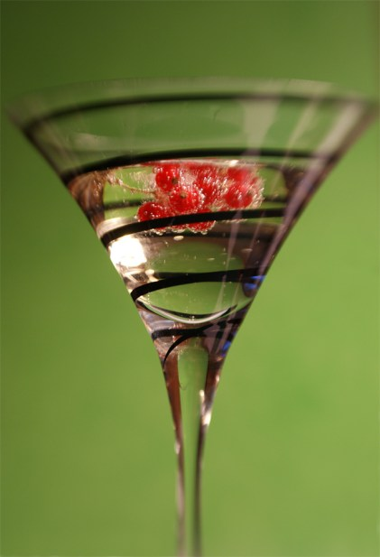 Cocktail glass with berries