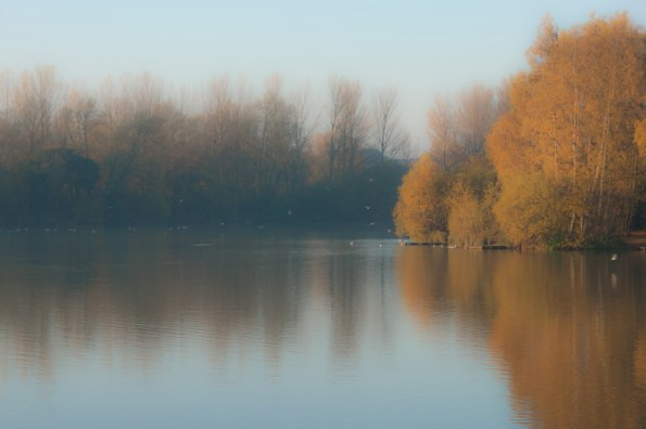 Autumn lake, Balderton Lakes, Newark, soft focus