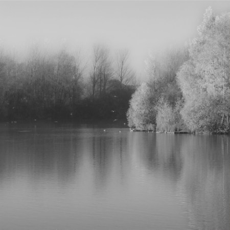 Autumn lake, Balderton Lakes, Newark, black and white soft focus version