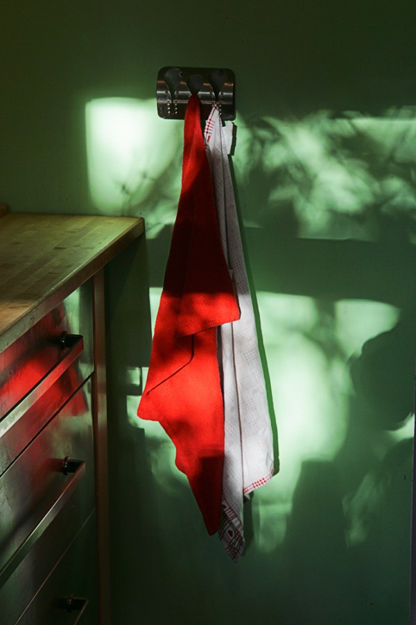 Red cloth, green wall, and tree shadow