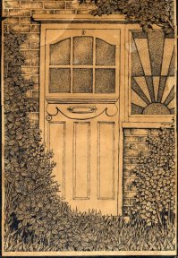 9 Daves front door ink drawing | gillyroots