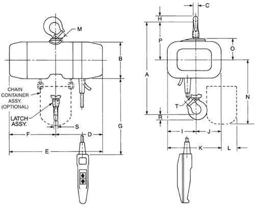 Valustar Electric Chain Hoist with Rigid Hook Suspension