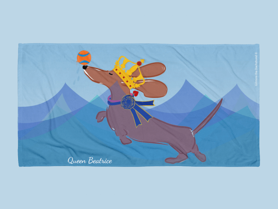 custom dachshund beach towel