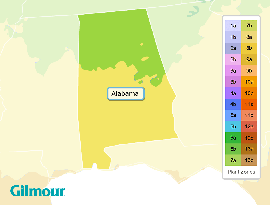 Alabama Planting Zones Growing Zone Map Gilmour