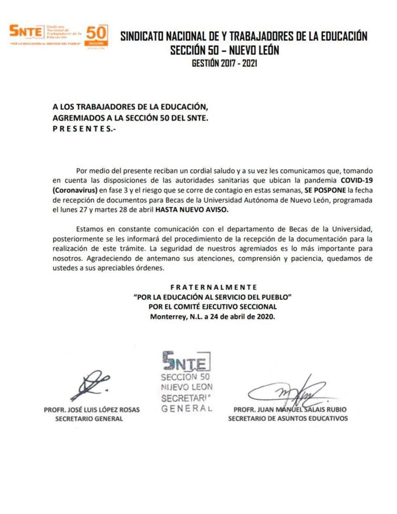 Oficio del SNTE Sección 50