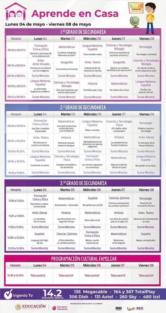 Calendario de actividades de Aprende en Casa nivel secundaria del 4 al 8 de mayo de 2020.