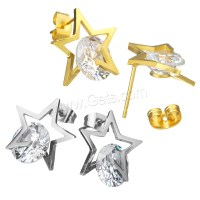 Stainless Steel Cubic Zirconia Stud Earring Star plated ...
