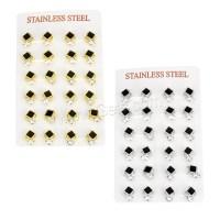 Stainless Steel Cubic Zirconia Stud Earring Rhombus plated ...