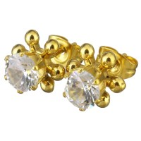 Stainless Steel Cubic Zirconia Stud Earring Flower gold ...