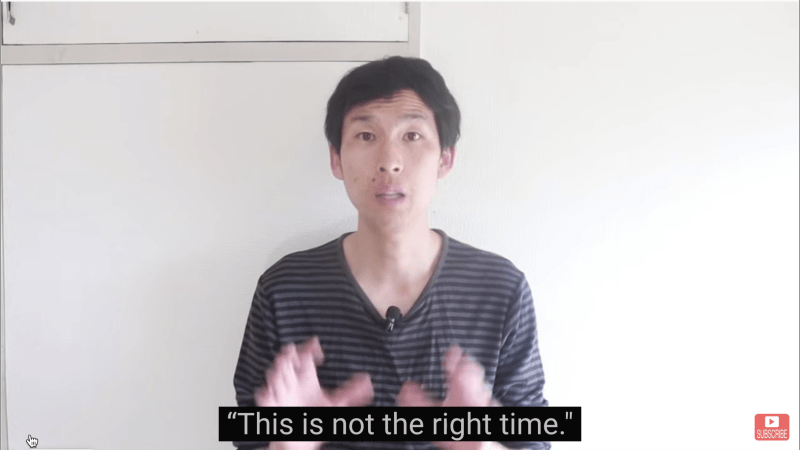 """Japanese YouTuber Nobita saying """"This is not the right time."""""""