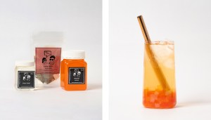Mango Fruit Bubble Tea Kit and Drink with Pomegranate Popping Pearls