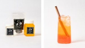 Passionfruit Fruit Bubble Tea Kit and Drink with Strawberry Popping Pearls