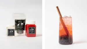 Red Guava Fruit Bubble Tea Kit and Drink with Blueberry Popping Pearls