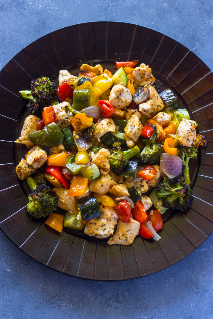 15 Minute Healthy Roasted Chicken and Veggies (Video)