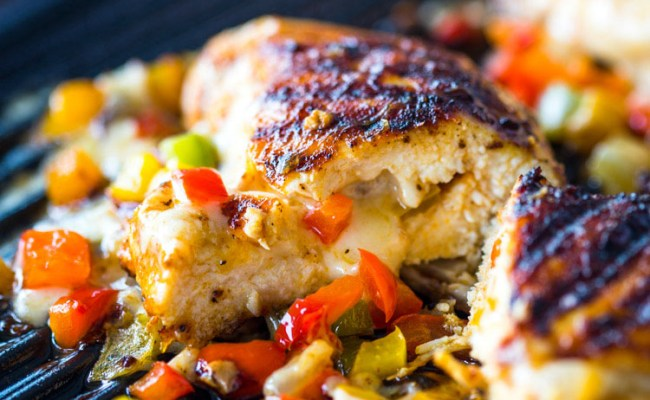 Cheese And Pepper Stuffed Grilled Chicken Breasts Gimme