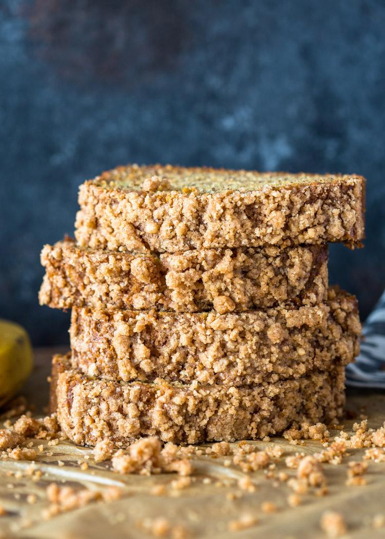 Healthier Cinnamon Crunch Banana Bread