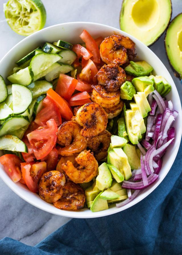 Skinny Shrimp  Avocado Salad with Cilantro Lime Dressing
