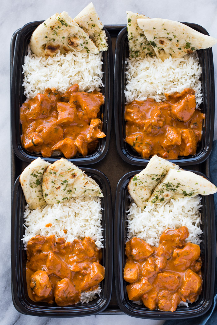 Meal-Prep Butter Chicken with Rice and Garlic Naan | Gimme ...
