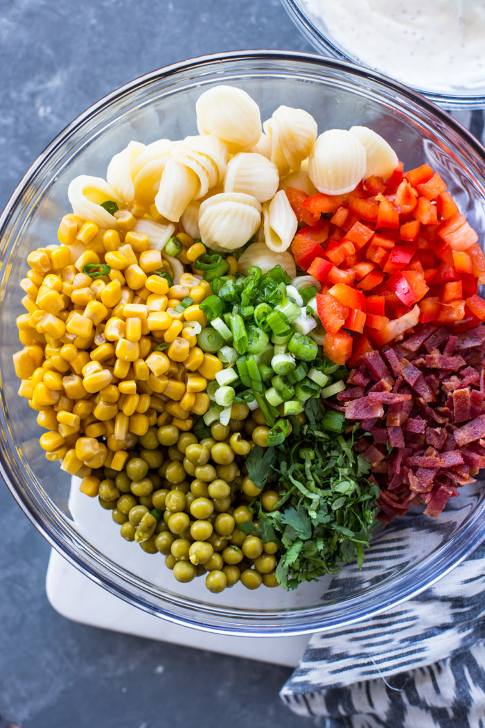 Creamy Corn & Pea Pasta Salad