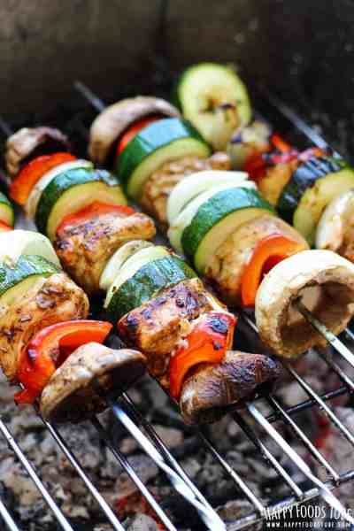 Balsamic chicken and veggie skewers on the grill