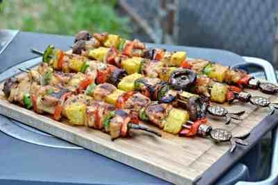 Honey porter glazed kebabs on cutting board