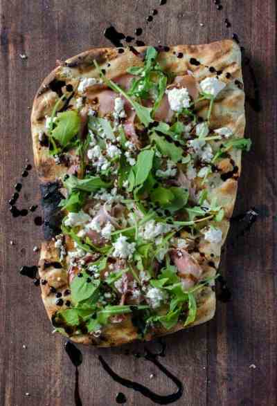 Grilled Flatbread with Proscuitto, Arugula, Goat Cheese, and Balsamic
