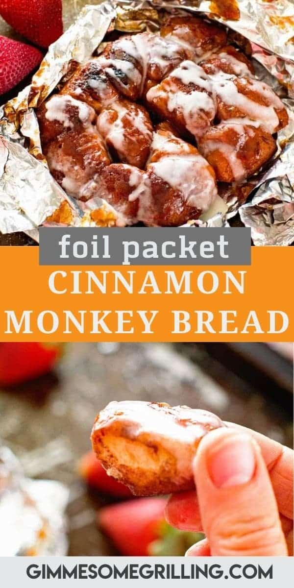 This quick easy foil packet breakfast is so delicious! Cut up your cinnamon rolls, toss them in sugar and cinnamon then grill them on the grill or over a campfire and you have Cinnamon Monkey Bread Foil Packets. Top them with icing and you have delicious breakfast with easy cleanup. #foil #packet via @gimmesomegrilling