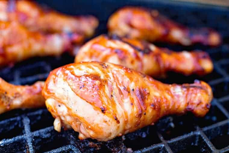 BBQ Chicken Legs on grill