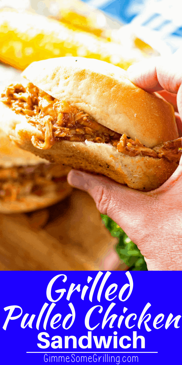 Tender grilled chicken thigh meat that is pulled and then combined with a Root Beer BBQ Sauce to make delicious Pulled Grilled Chicken Sandwiches perfect for entertaining! Such a delicious and easy grilling recipe for everyone! via @gimmesomegrilling