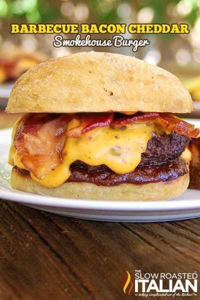 Barbecue bacon cheddar smokehouse burger on plate