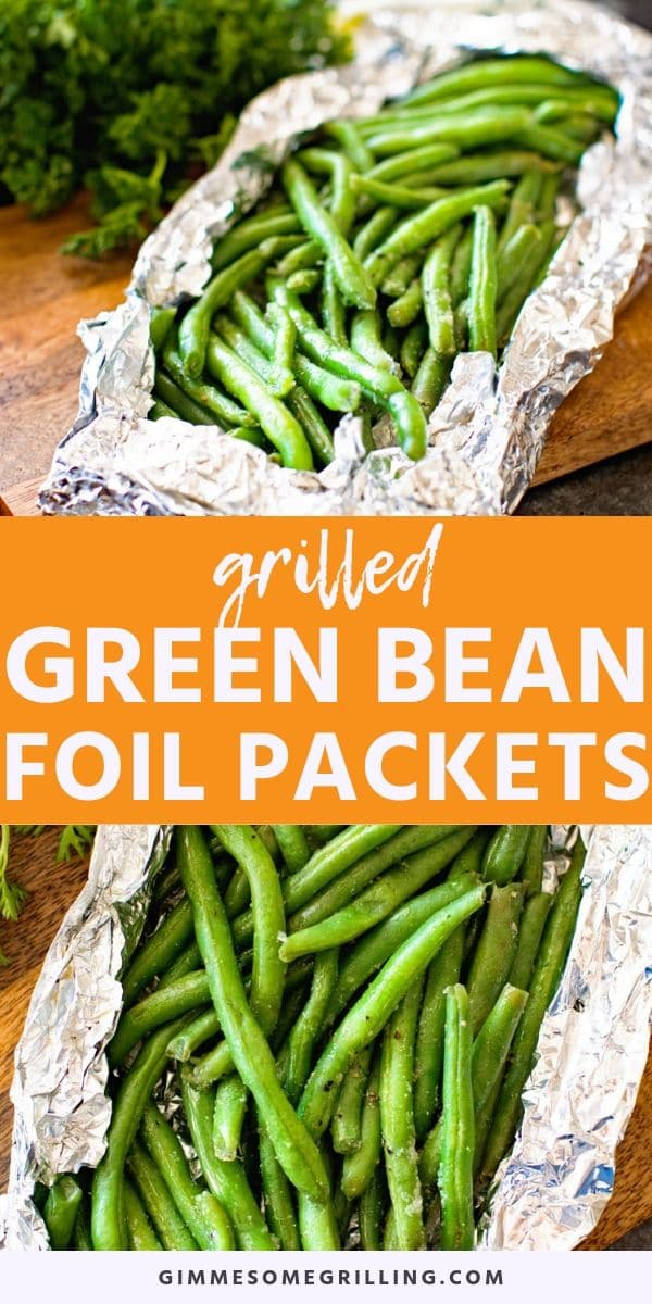 Grilled Green Beans in a foil packet are a quick and easy side dish on the grill. Fresh green beans, seasoned and then wrapped in foil. They are crunchy, delicious and easy to clean up! Make green beans on the grill today. #greenbeans #recipe via @gimmesomegrilling