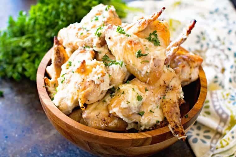 Garlic Parmesan Chicken Wings in brown bowl