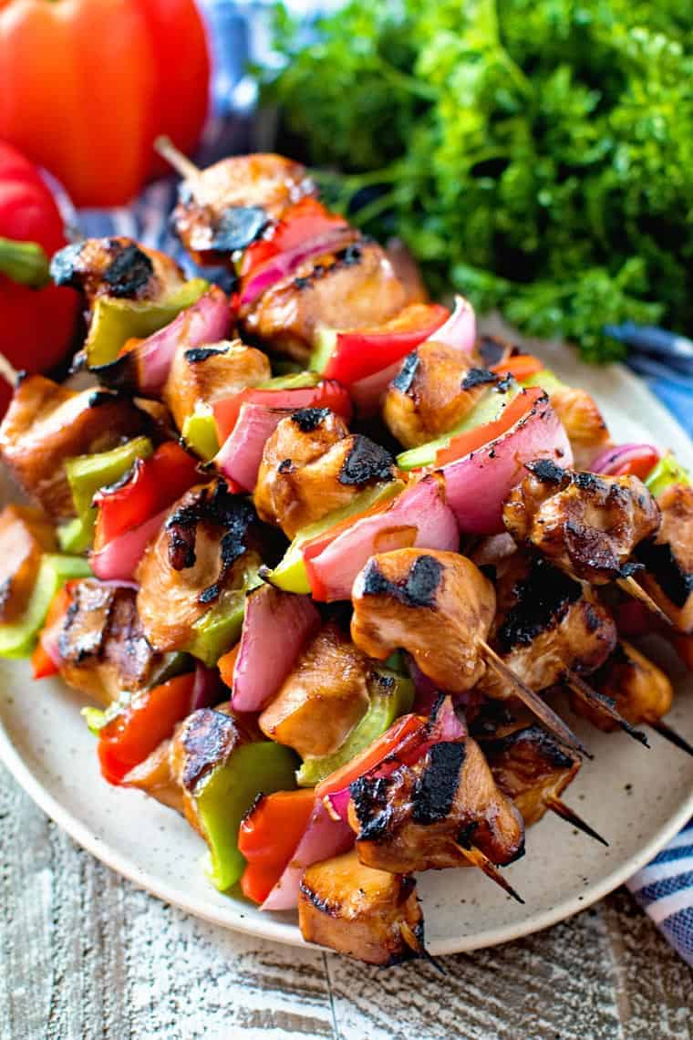 Asian Chicken Skewers on plate