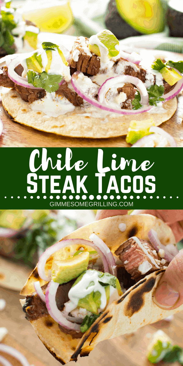 Tender, juicy flank steak marinaded in lime juice and then rubbed with spices. Then grilled to medium rare and sliced for these delicious Chile Lime Steak Tacos in a crisp corn tortilla! #steak #taco #tacos #chile #lime #chilelime #flanksteak #mexican #mexicanfood #grill #grilling #grilled #recipe #easy #beef #julieseatsandtreats #dinner #easydinner