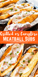 Grilled Meatball Subs Pinterest Image