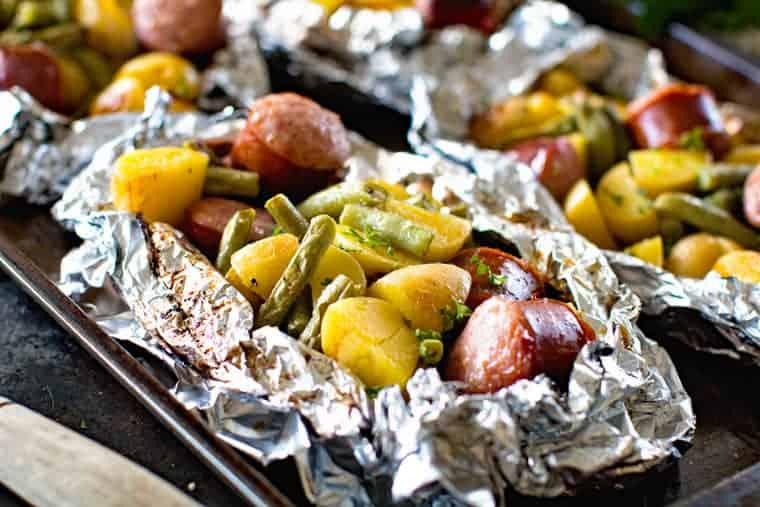 Sausage Potatoes Green Beans in Foil Packet