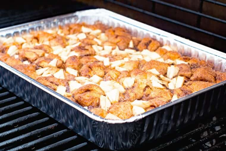 Apple Monkey Bread on Grill in foil pan for grilled breakfast