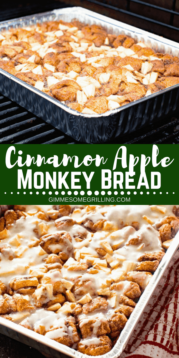 Easy and delicious Monkey Bread stuffed with tender, juicy apples and topped with icing. This Apple Monkey Bread on the grill is perfect for camping or mornings when you don't want to heat the house up! You can also make it in the oven! #apple #breakfast #recipe #easy #easyrecipe #monkeybread #cinnamon #brunch #grill #grilled #grilling #camping #campingrecipes #gimmesomegrilling via @gimmesomegrilling