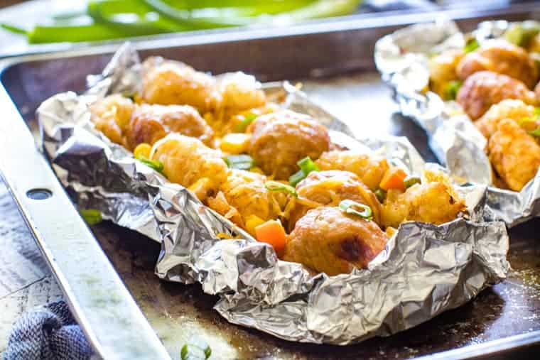 Foil Packets Meatball Tater Tot Vegetables on sheet pan