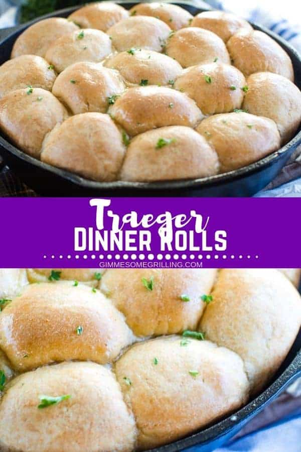 Dinner rolls made in a cast iron skillet on your electric smoker! Such a quick and easy electric smoker recipe. #dinnerrolls #recipe