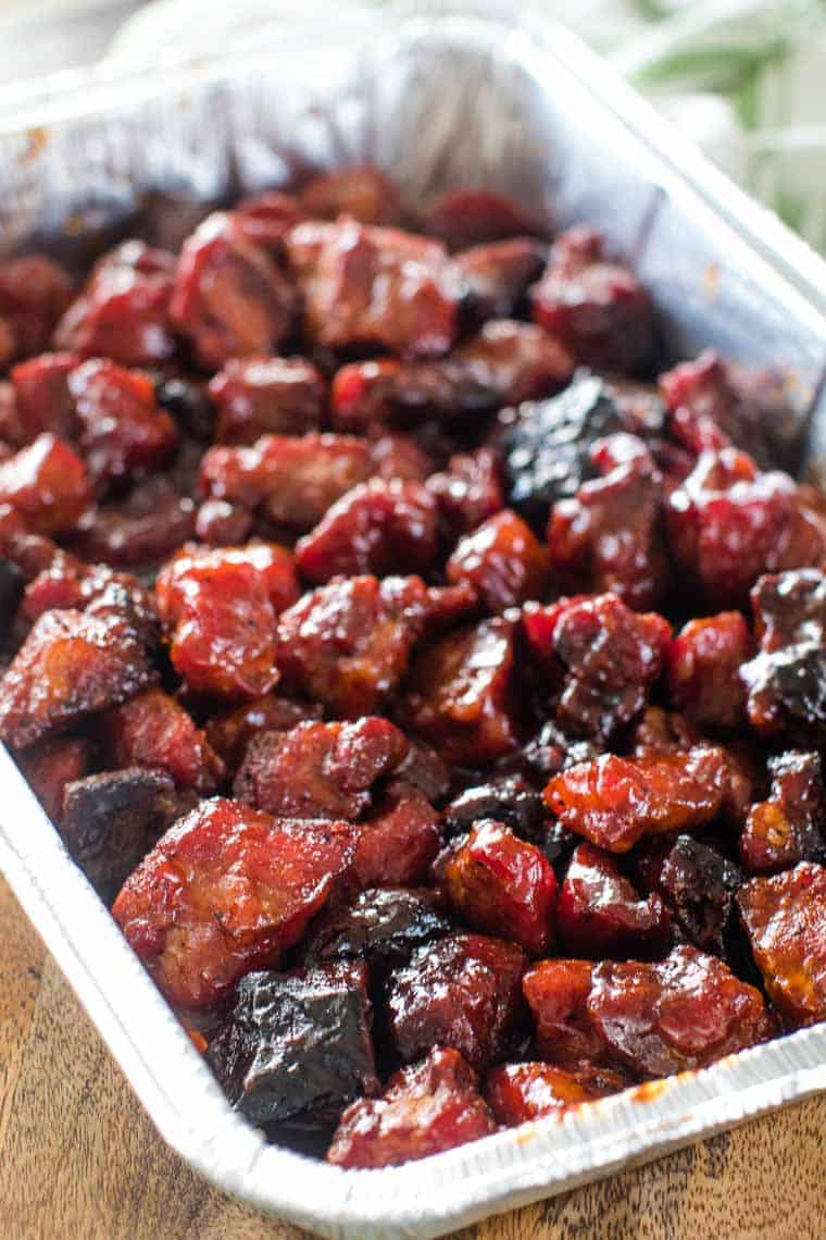 Pork Burnt Ends in foil pan
