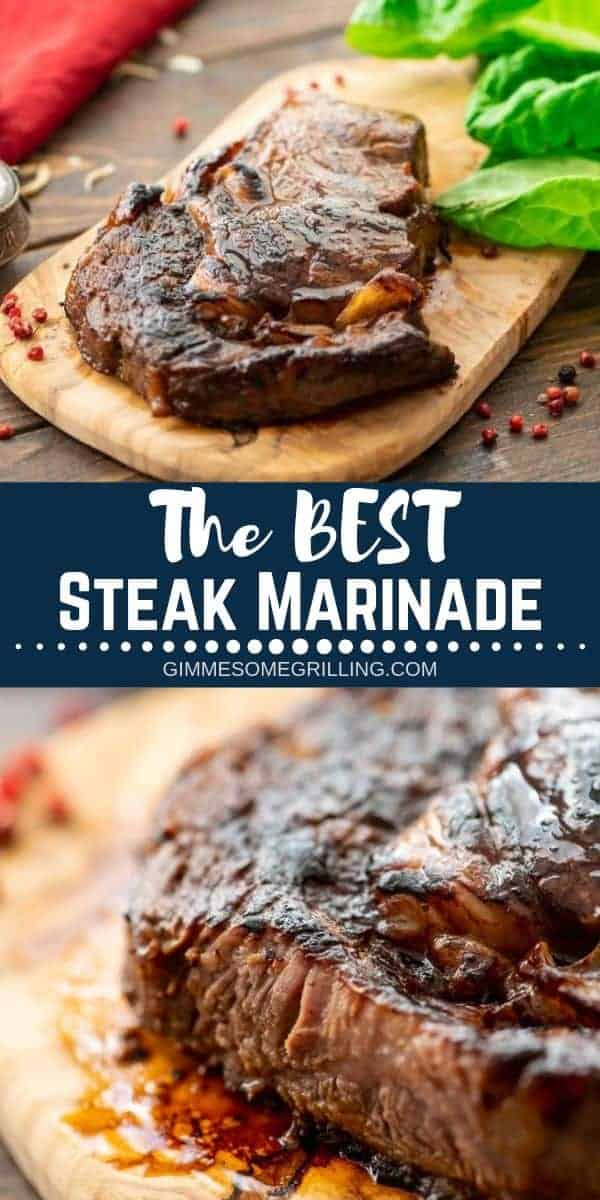 This is the BEST Steak Marinade ever! It will make your steaks juicy, tender and full of flavor. We love that it's made with pantry staples so you have everything on hand. If you are looking to make the best steak ever try out this delicious marinade recipe! #steak #marinade