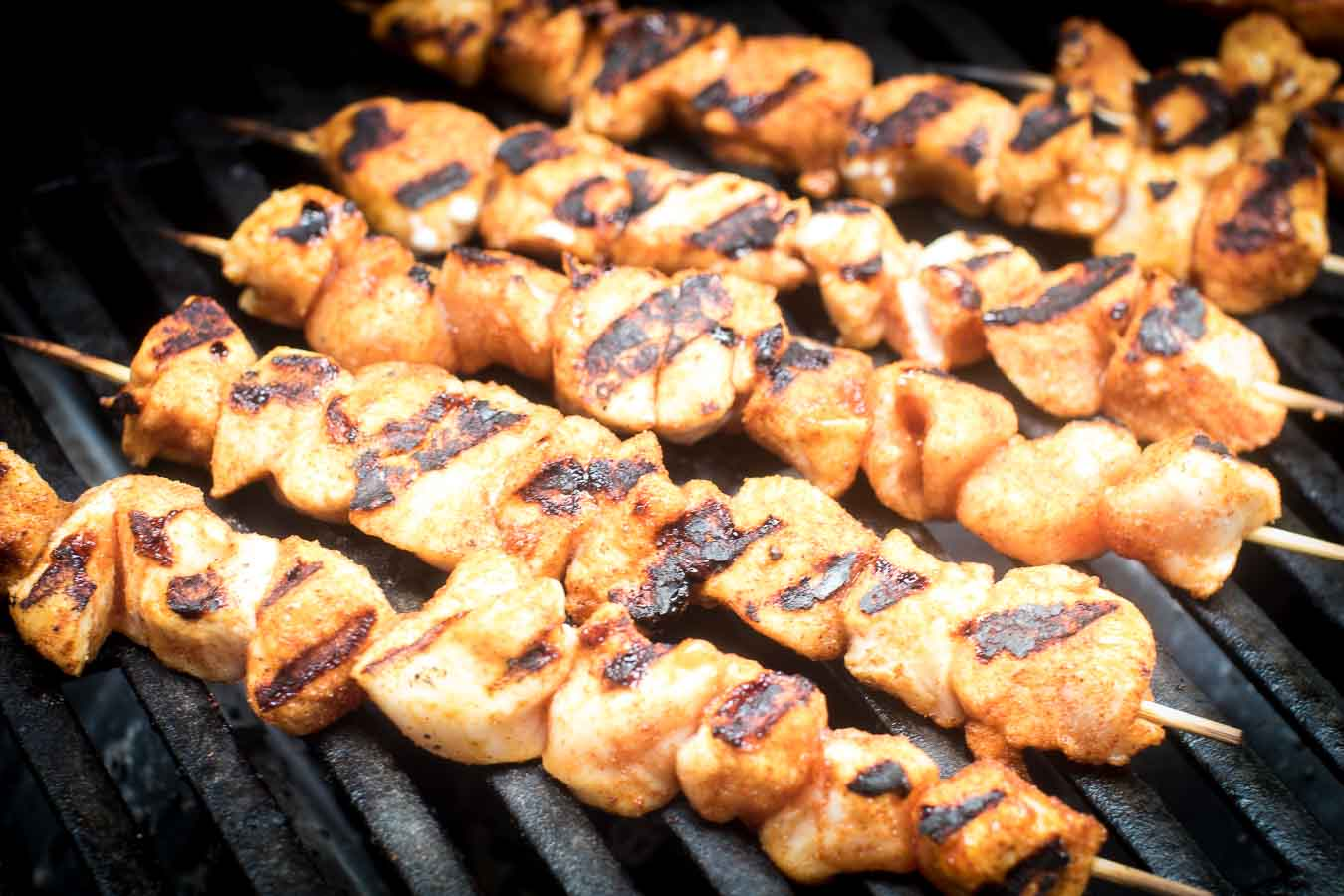Easy BBQ Chicken Kabobs on grill