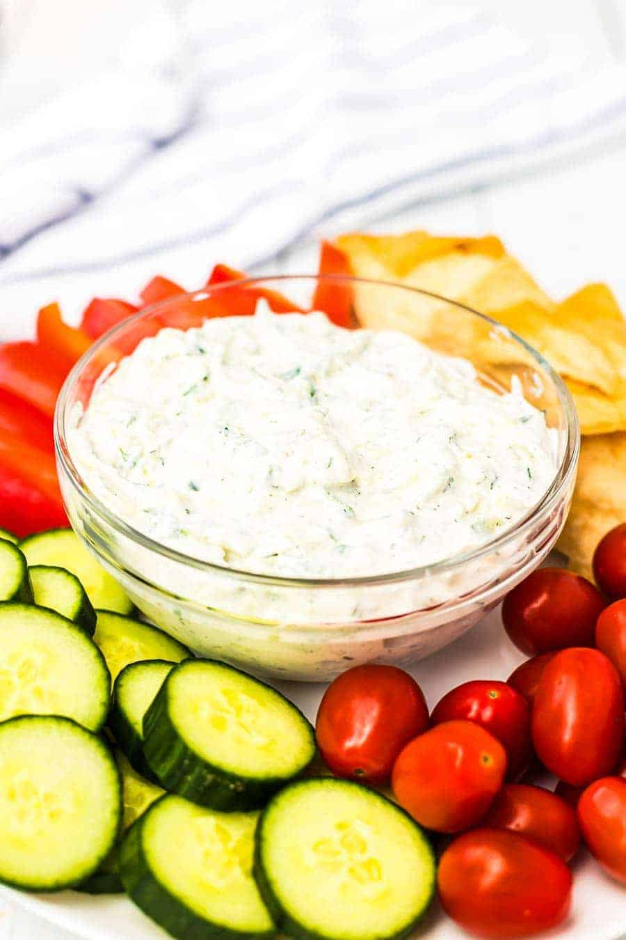 Tzatziki Sauce with vegetables on plate
