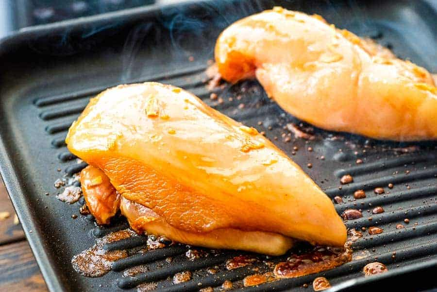 Teriyaki Chicken Breast recipe on grill pan