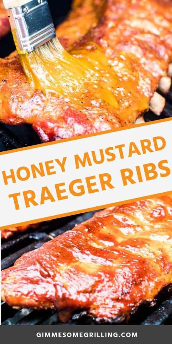 Honey Mustard Smoked Ribs are made with the 3-2-1 smoked ribs method so they are tender, fall off the bone perfection every single time. These Traeger ribs are smoked on your pellet grill after they are prepared with a homemade rub. During the last step of smoking these ribs they are brushed with a delicious honey mustard sauce. A great twist on smoked ribs! #smoked #ribs via @gimmesomegrilling